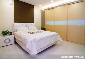 自然休闲的风格气息,摩登雅舍室内装修,蓝永峻,卧室,拉门,造型主墙,床头柜,造型灯光,