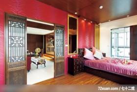 传统与现代相融合,艺堂室内设计,李燕堂,卧室,拉门,造型天花板,造型主墙,床头柜,