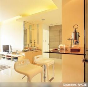 简洁是一种自信,东易日盛CBD工作室,李文剑,餐厅,造型天花板,隐藏门,电视柜,早餐吧台,洗脸台面,
