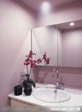 引进光源放大空间,觐得空间设计,游淑慧,浴室,洗脸台面,收纳柜,造型主墙,镜面收纳柜,