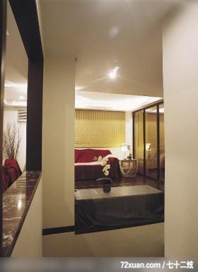 新婚房独显时尚空间,权释设计,洪韡华,玄关,造型地板,造型天花板,穿透设计,整衣镜,