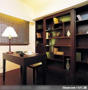 日式风格,龙发,董文斌,书房,落地书墙,造型书桌,阅读区,