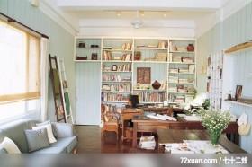 欧风田园式的绿意居家,东易日盛亚奥工作室,田伟,书房,落地书墙,造型天花板,阅读区,收纳柜,