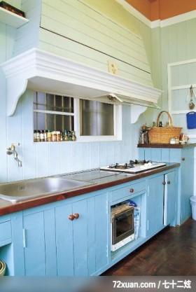 欧风田园式的绿意居家,东易日盛亚奥工作室,田伟,厨房,电器收纳柜,流理台主墙,造型调味料架,
