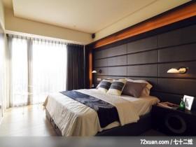 王俊宏_10_林口,觐得空间设计,游淑慧,卧室,造型天花板,造型主墙,床头柜,阳台落地窗,