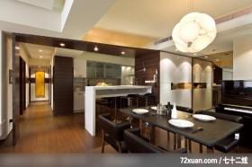 开阔的生活模式,观林室内设计工程,黄传林,餐厅,造型灯光,冷气摆放设计,隔间吧台,钢琴区,造型天花板