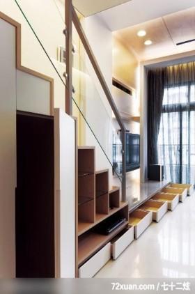 现代简约的设计风格,艺堂室内设计,李燕堂,客厅,挑高设计,造型楼梯,楼梯收纳柜,造型电视主墙,