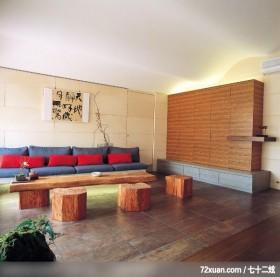 闹中取静,龙发,卢成峰,客厅,造型沙发背墙,造型天花板,冷气摆放设计,收纳柜,隐藏门,