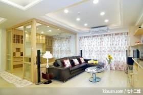 现代温馨风格,云邑室内设计,李中霖,客厅,阳台落地窗,造型天花板,拉门,穿透设计,冷气摆放设计,