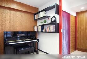 壁纸点缀出中国风情,墨比雅设计团队,王思文,多功能室,钢琴区,书架层板,造型天花板,造型主墙,