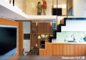 享受日式风格带来的温馨,东易日盛亚奥工作室,张岭,客厅,穿透设计,造型楼梯,流理台主墙,收纳柜,造型
