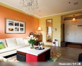 租来的房子也应该有家的感觉,龙发,殷勇,客厅,造型沙发背墙,收纳鞋柜,造型灯光,穿衣镜,收纳柜,