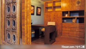 混搭的华丽休闲风居家,东易日盛亚奥工作室,田伟,书房,造型书桌,拉门,书柜,
