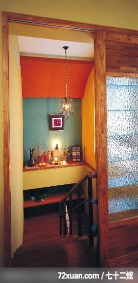 混搭的华丽休闲风居家,东易日盛亚奥工作室,田伟,楼梯间,造型楼梯,展示柜,造型灯光,造型主墙,穿透设