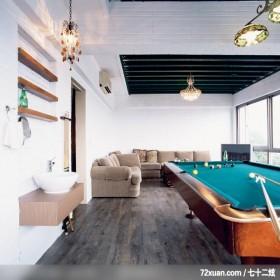 蓝白休闲风格,春雨时尚空间设计,周建志,多功能室,冷气摆放设计,造型天花板,洗脸台面,独创设计,