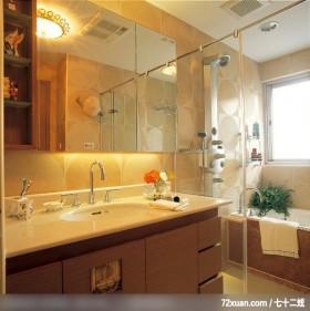 华丽休闲风格,权释设计,洪韡华,浴室,镜面收纳柜,干湿分离隔间,洗脸台面,收纳柜,