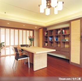 休闲古典风格,春雨时尚空间设计,周建志,书房,书柜,收纳柜,造型天花板,阅读区,拉门,