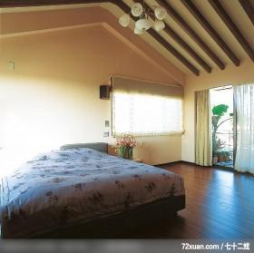 觐得_60_北市,权释设计,洪韡华,卧室,造型天花板,阳台落地窗,