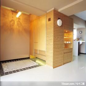 公共空间的使用概念,云邑室内设计,李中霖,玄关,造型地板,收纳鞋柜,展示柜,造型天花板,早餐吧台,