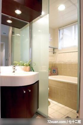 简单就是美,东易日盛CBD工作室,吴巍,浴室,透明隔间,洗脸台面,收纳柜,