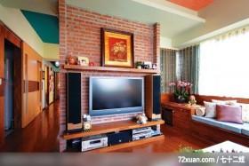 田园式风情,观林室内设计工程,黄传林,客厅,造型电视主墙,视听柜,观景沙发座,造型天花板,拉门,