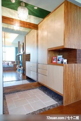 田园式风情,观林室内设计工程,黄传林,玄关,造型地板,收纳鞋柜,整衣镜,造型天花板,