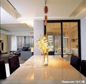 杰克文生_07_北市,东易日盛亚奥工作室,沈戴华,餐厅,造型天花板,穿透设计,落地窗,冷气摆放设计,