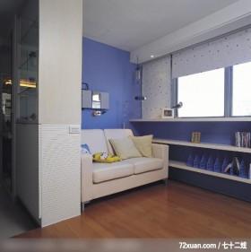 德力_01_北市,觐得空间设计,游淑慧,客厅,书柜,造型沙发背墙,造型天花板,展示柜,垫高地板,