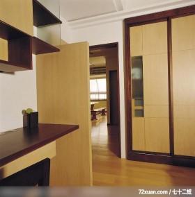 简洁的线条美,摩登雅舍室内装修,蓝永峻,卧室,造型衣橱,书柜,阅读区,造型天花板,