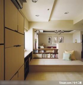 开放式休闲屋,觐得空间设计,游淑慧,多功能室,书柜,垫高地板,造型天花板,冷气摆放设计,