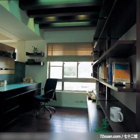 美式与中式的结合,东易日盛CBD工作室,刘绍军,书房,书柜,造型天花板,阅读区,