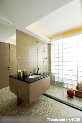 现代风格也体现奢华感,北京泰吉伟邦设计公司,马豪,浴室,干湿分离隔间,洗脸台面,收纳柜,造型天花板,