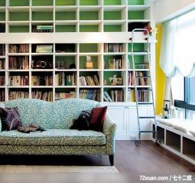 禾观.空间_01_竹北市,觐得空间设计,游淑慧,客厅,书墙,独创设计,收纳柜,挑高设计,