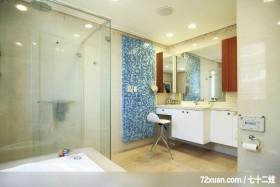 贝易_01_桃园县,墨比雅设计团队,王思文,浴室,干湿分离隔间,化妆台,洗脸台面,造型拼贴主墙,收纳