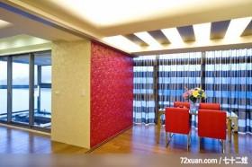 后翊_02_北县八里,权释设计,洪韡华,餐厅,造型天花板,造型主墙,阳台落地窗,玻璃隔间,