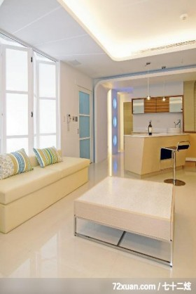 筑采_01_台中,艺堂室内设计,李燕堂,客厅,弹性隔间设计,造型天花板,冷气摆放设计,隔间吧台,收纳