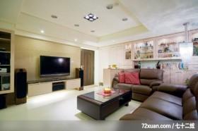 世家新_05_北市,艺堂室内设计,李燕堂,客厅,造型电视主墙,电视柜,造型天花板,收纳柜,