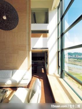 石坊_06_北市,春雨时尚空间设计,周建志,客厅,挑高设计,造型沙发背墙,造型窗,