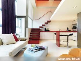 建构线_01_北市,权释设计,洪韡华,客厅,造型楼梯,早餐吧台,挑高设计,穿透设计,造型天花板,