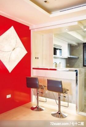轻盈简约空间,春雨时尚空间设计,周建志,厨房,造型主墙,隔间吧台,收纳柜,餐具收纳柜,冷气摆放设计,