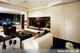 生活空间_01_北市大直,龙发,卢成峰,客厅,电视背景墙,电视柜,造型天花板,观景窗,隐藏门,