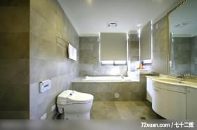 美式风格客厅,龙发,浴室,洗脸台面,收纳柜,造型拼贴主墙,造型天花板,用品架,
