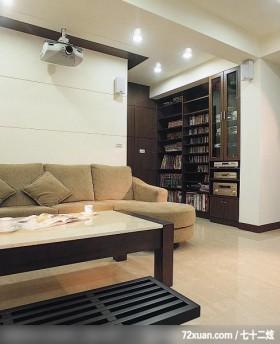瑞德_23,摩登雅舍室内装修,蓝永峻,客厅,书墙,视听柜,造型天花板,造型沙发背墙,隐藏门,