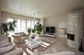150平欧式别墅客厅吊顶装修效果图615