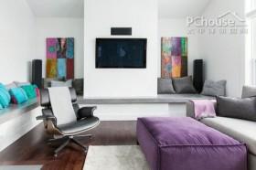 欧洲紫色艺术复式公寓