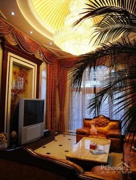 咖啡色电视背景墙奢华欧式别墅装饰设计
