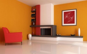 120平红色家居室内装修设计效果图