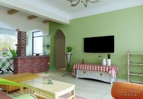 田园风格浅绿色电视背景墙装修效果图
