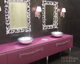 紫色格调的卫生间装修效果图 独具创意
