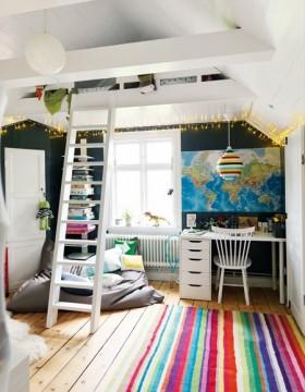 复式儿童书房装修效果图 儿童书房装修设计